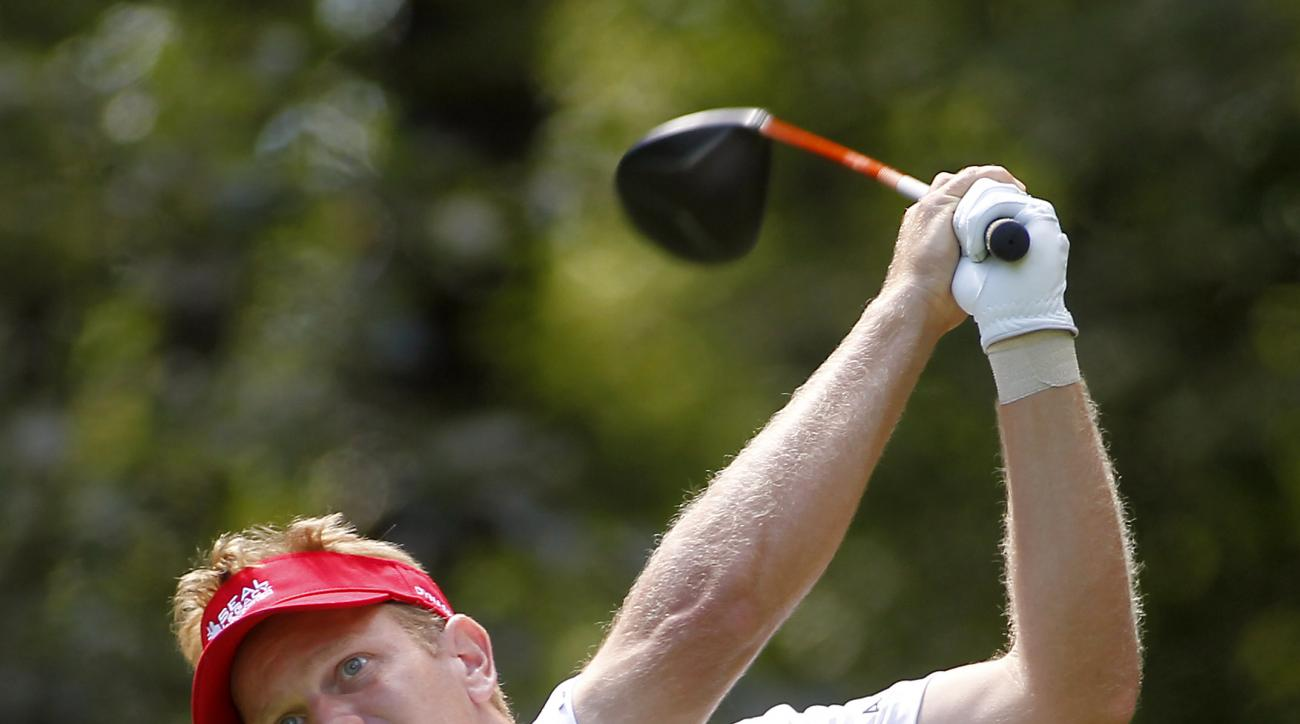 Billy Hurley hits his tee shot on the second hole during the second round of the Deutsche Bank Championship golf tournament in Norton, Mass., Saturday, Aug. 30, 2014. (AP Photo/Stew Milne)