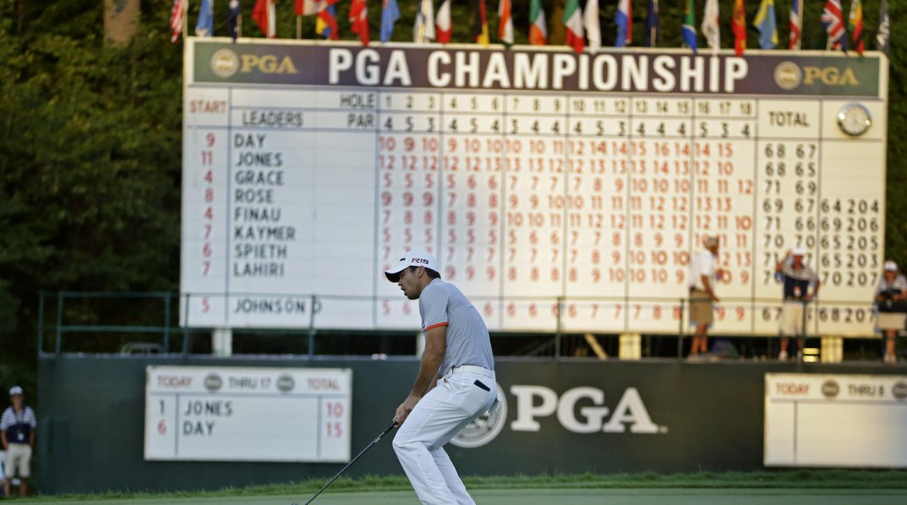 Jason Day, of Australia, reacts to a missed birdie putt on the 18th hole during the third round of the PGA Championship golf tournament Saturday, Aug. 15, 2015, at Whistling Straits in Haven, Wis. (AP Photo/Brynn Anderson)