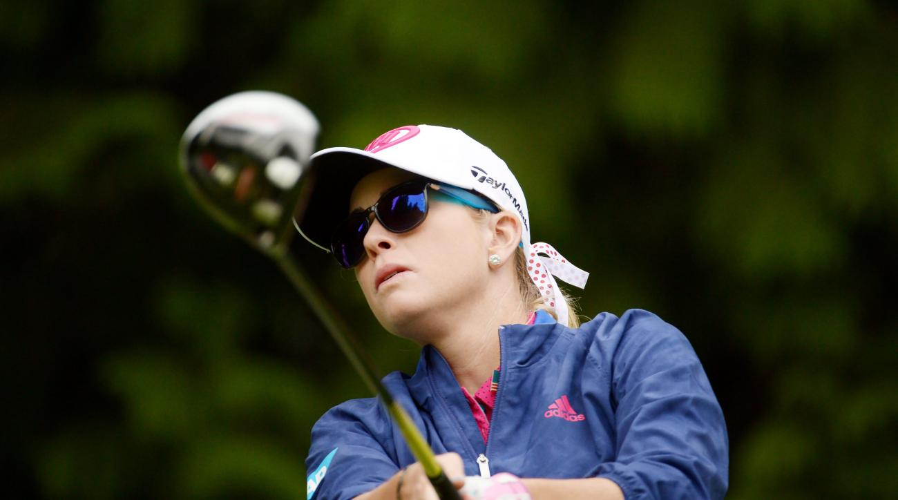 Paula Creamer watches her shot from the fourth tee during the first round of the Canadian Pacific Women's Open golf tournament at the Vancouver Golf Club in Coquitlam, British Columbia, Thursday, Aug. 20, 2015. (Jonathan Hayward/The Canadian Press via AP)