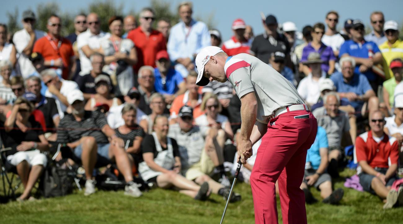 David Horsey at the European Tour Golf Tournament in Himmerland, Denmark, Friday, Aug. 21, 2015. (Rene Schutze/POLFOTO via AP) DENMARK OUT