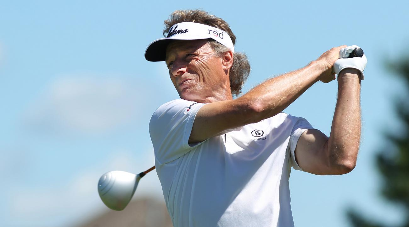 Bernhard Langer, of Germany, tees off on the first hole of the first round of the Champions Tour 3M Championships golf tournament on Friday July 31, 2015 at TPC Twins Cities in Blaine, Minn..(AP Photo/Andy Clayton King)