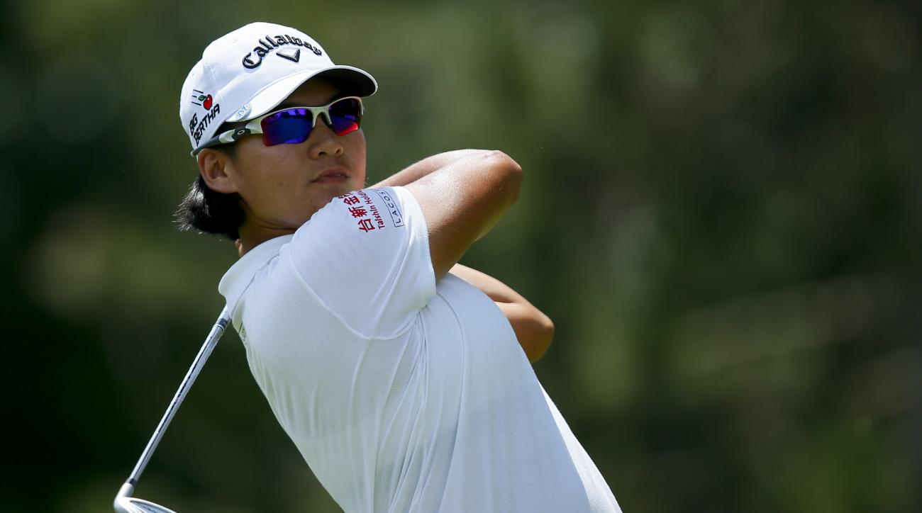 Yani Tseng of Chinese Taipei tees off on the second hole during the third round of the Marathon Classic golf tournament at Highland Meadows Golf Club in Sylvania, Ohio, Saturday, July 18, 2015. (AP Photo/Rick Osentoski)