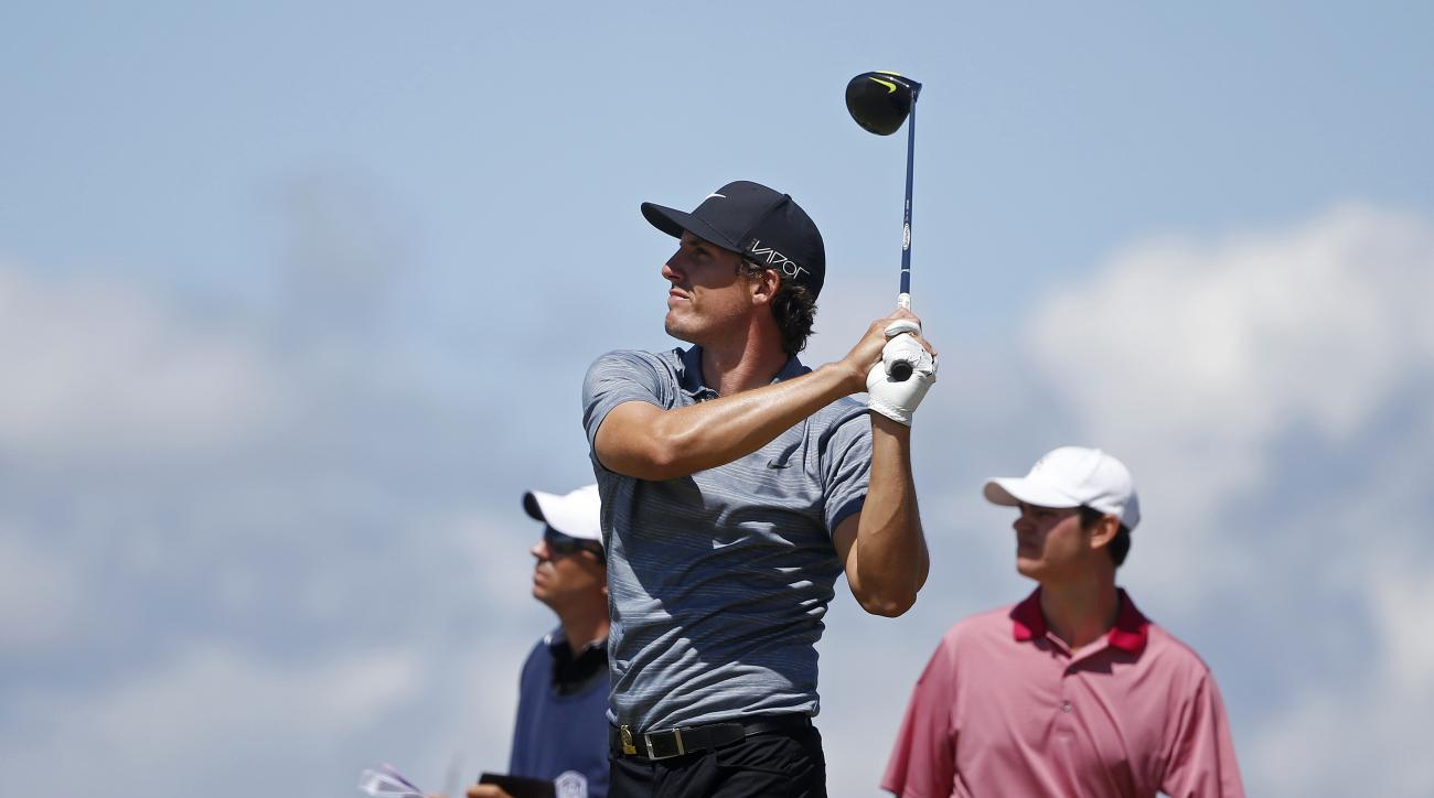 Jamie Lovemark watches his tee shot  on the 16th hole during the second round of the U.S. Open golf tournament at Chambers Bay on Friday, June 19, 2015 in University Place, Wash. (AP Photo/Lenny Ignelzi)