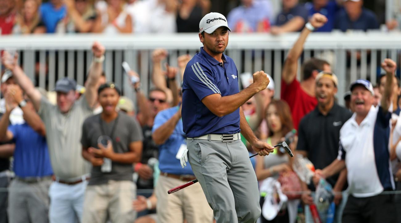 FILE - In this Aug. 30, 2015, file photo, Jason Day, of Australia, reacts after making a birdie putt on the 15th green during the final round of play at The Barclays golf tournament in Edison, N.J. Combine talent, work ethic and  finally  self-belief, and