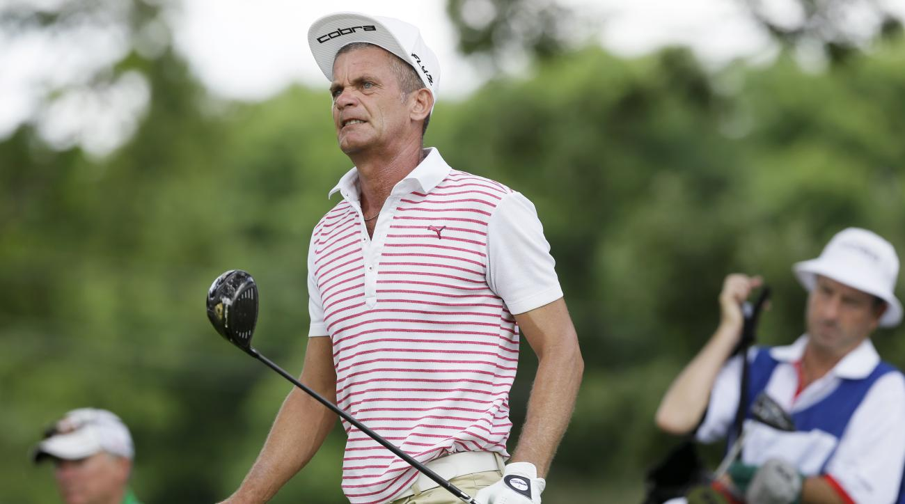 Jesper Parnevik watches his shot off the third tee during the final round of the Champions Tour's Principal Charity Classic golf tournament, Sunday, June 7, 2015, in Des Moines, Iowa. (AP Photo/Charlie Neibergall)