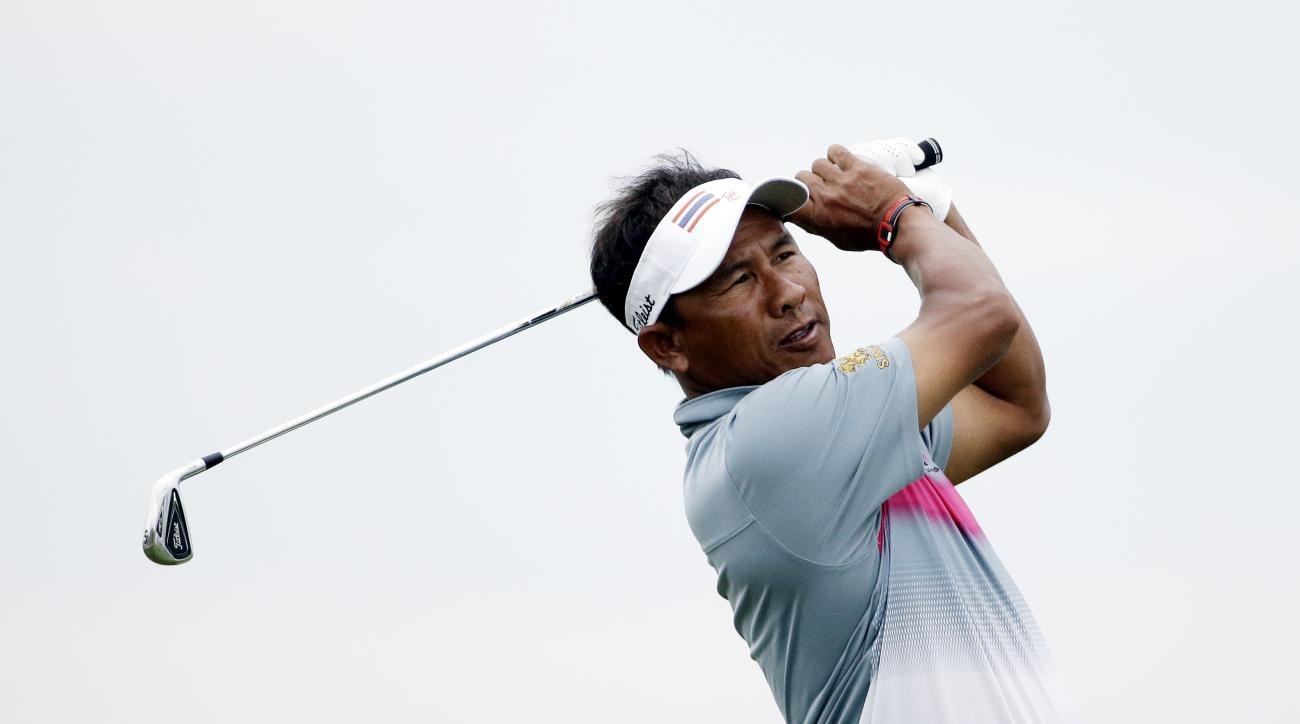 Thongchai Jaidee, of Thailand, on the third hole during the first round of the PGA Championship golf tournament Thursday, Aug. 13, 2015, at Whistling Straits in Haven, Wis. (AP Photo/Brynn Anderson)
