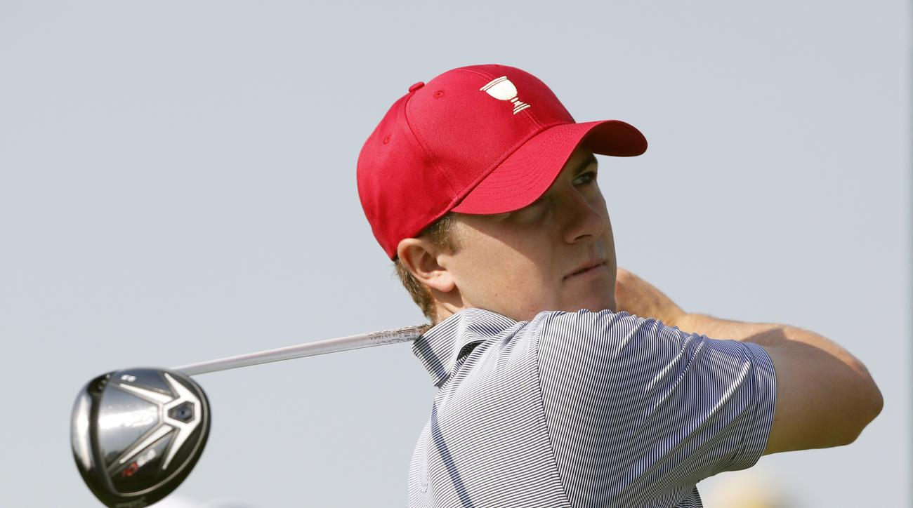 United States team player Jordan Spieth tees off on the third hole during a practice round ahead of the Presidents Cup golf tournament at Jack Nicklaus Golf Club Korea in Incheon, South Korea, Tuesday, Oct. 6, 2015. (AP Photo/Lee Jin-man)