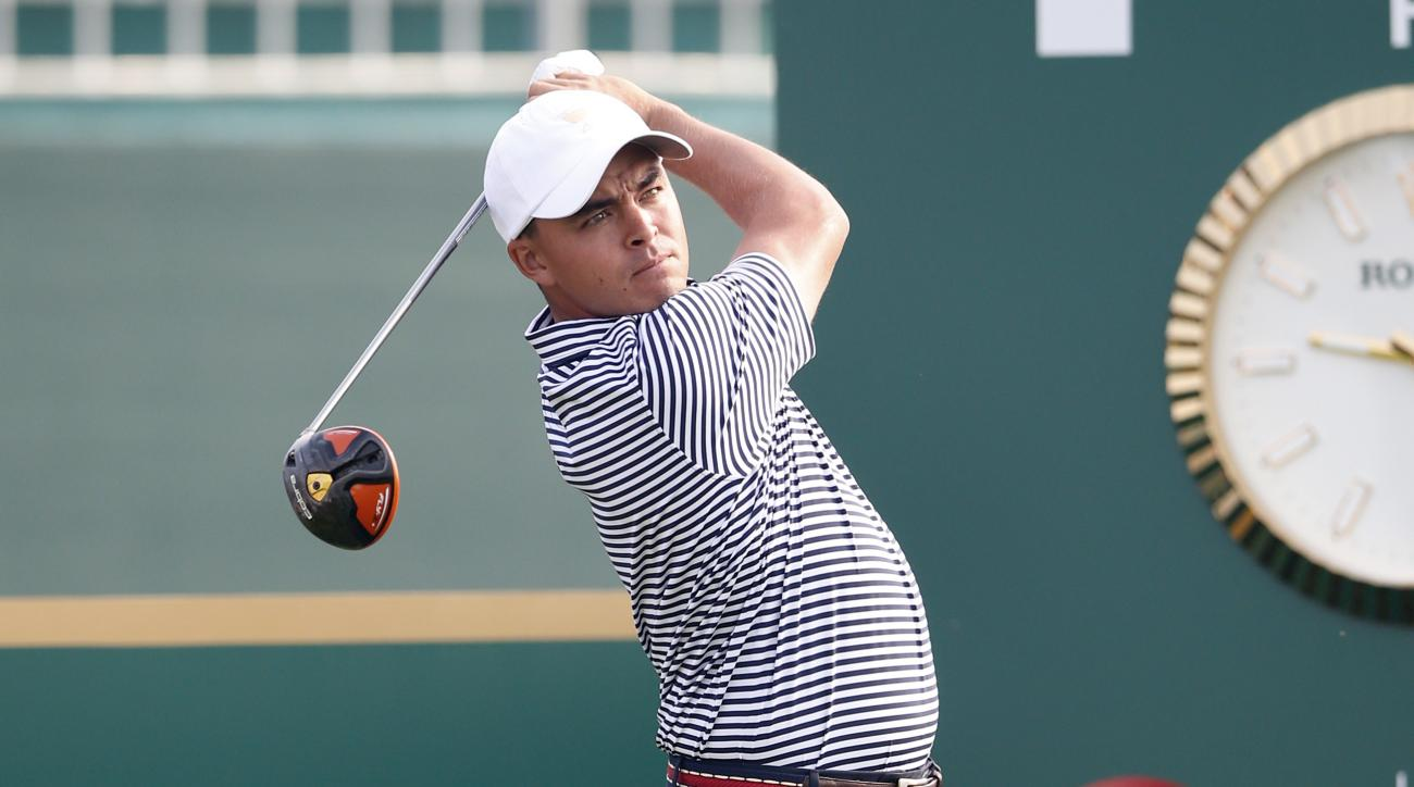 United States' Rickie Fowler watches his tee shot during his final practice round ahead of the Presidents Cup golf tournament at the Jack Nicklaus Golf Club Korea, in Incheon, South Korea, Wednesday, Oct. 7, 2015.(AP Photo/Lee Jin-man)