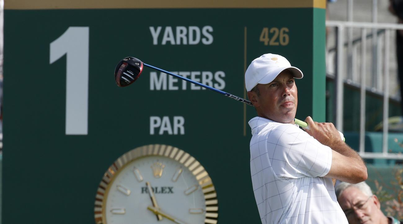 United States' Matt Kuchar watches his tee shot on the first hole during his foursome match at the Presidents Cup golf tournament at the Jack Nicklaus Golf Club Korea, in Incheon, South Korea, Thursday, Oct. 8, 2015.(AP Photo/Lee Jin-man)