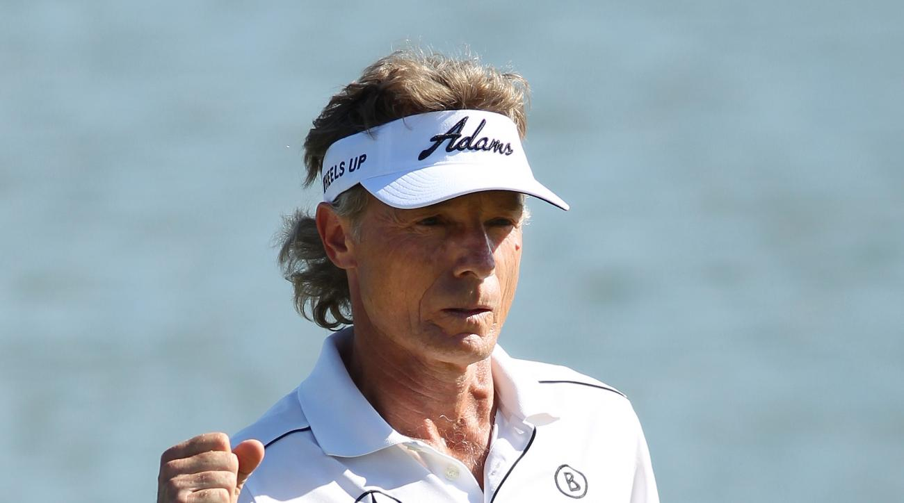 Bernhard Langer, of Germany, celebrates a birdie on the 18th hole during the first round of the Champions Tour 3M Championships golf tournament on Friday July 31, 2015 at TPC Twins Cities in Blaine, Minn..(AP Photo/Andy Clayton King)