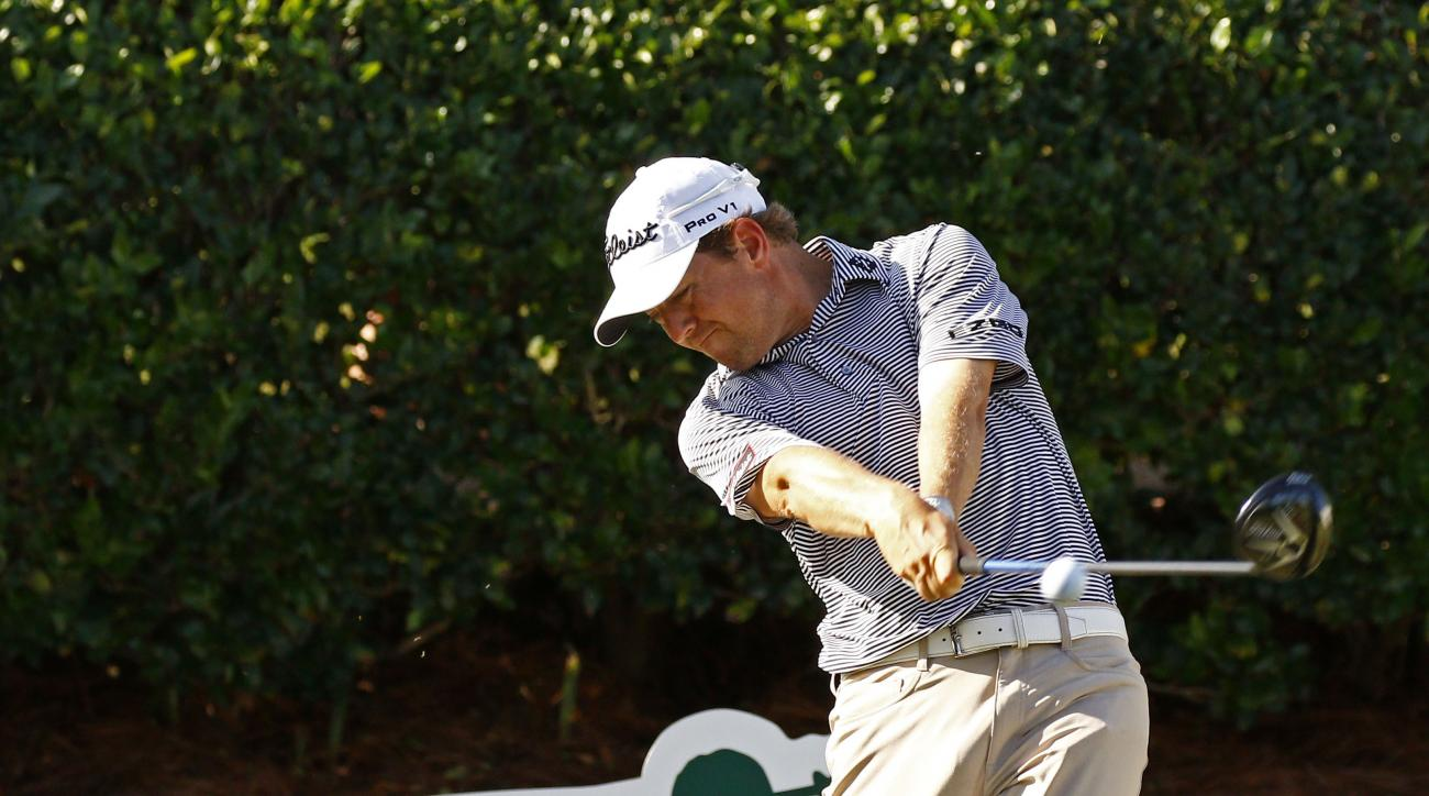 Bryce Molder drives from the No. 1 tee box during the second round of the Sanderson Farms Classic golf tournament, Friday, Nov 6, 2015, in Jackson, Miss. (AP Photo/Rogelio V. Solis)