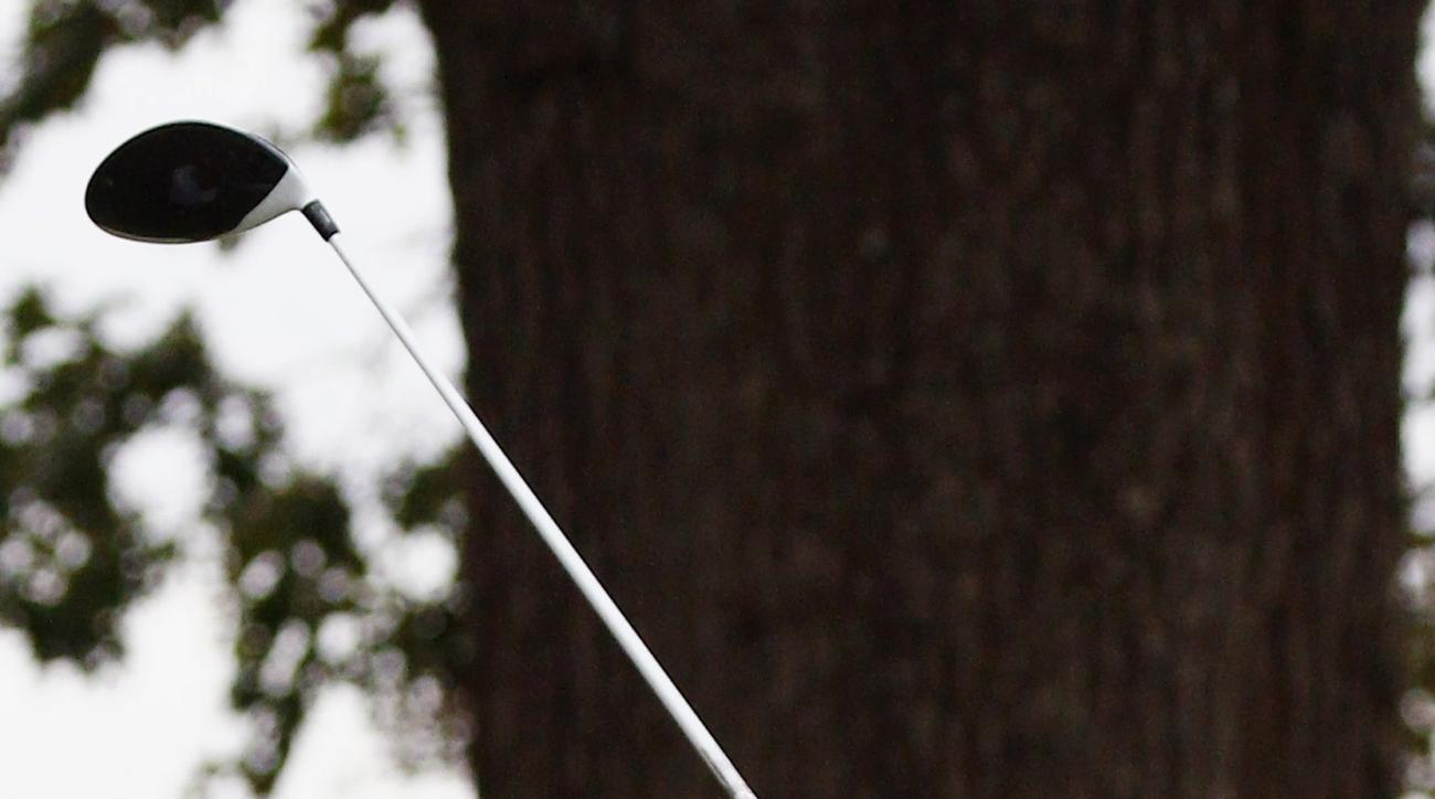 Roberto Castro watches his drive from the second tee box during the third round of the Sanderson Farms Championship golf tournament in Jackson, Miss., Sunday, Nov. 8, 2015. (AP Photo/Rogelio V. Solis)