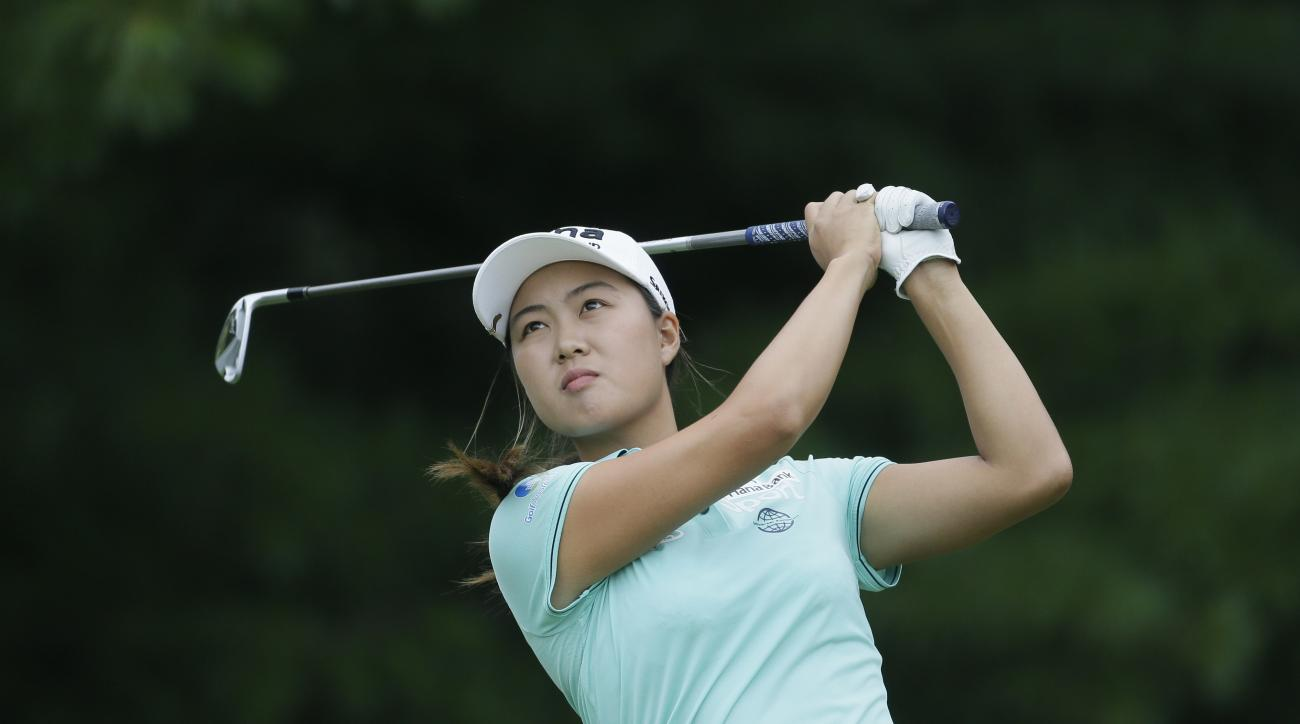 Minjee Lee of Australia hits her drive on the second hole during the third round of the Meijer LPGA Classic golf tournament at Blythefield Country Club, Saturday, July 25, 2015 in Belmont, Mich. (AP Photo/Carlos Osorio)