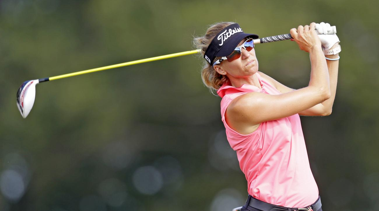 FILE - Kris Tamulis watches her tee shot on the 17th hole during the Yokohama Tire LPGA Classic golf tournament in Prattville, Ala. Tamulis tees off Thursday, Nov. 19, in the CME Group Tour Championship. (AP Photo/Butch Dill, File)