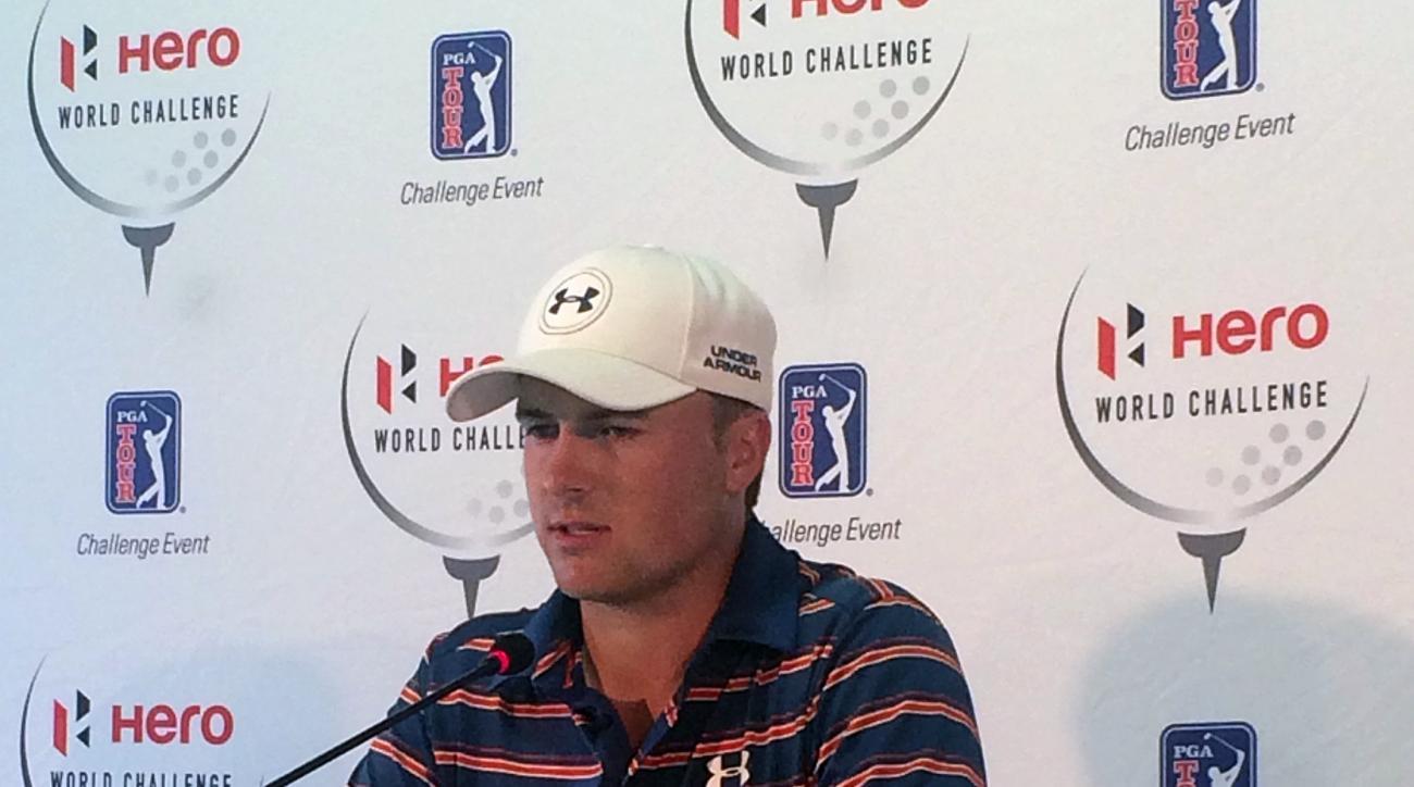 Jordan Spieth speaks during a press conference at the PGA Tour's Hero World Challenge golf tournament in Albany, Bahamas, Wednesday, Dec. 2, 2015. (AP Photo/Doug Ferguson)