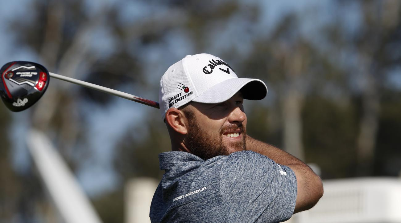 Scott Brown tees off on the 9th hole during the Farmers Insurance Open golf tournament, Thursday, Jan. 28, 2016 in San Diego. (Nelvin C. Cepeda/ San Diego Union-Tribune via AP) NO SALES, MANDATORY CREDIT