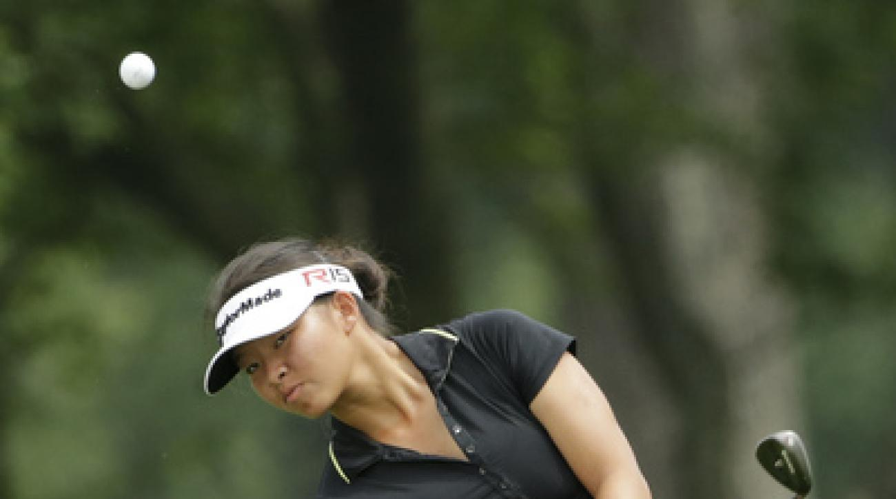 Megan Khang chips onto the ninth green during the first round of the U.S. Women's Open golf tournament at Lancaster Country Club, Thursday, July 9, 2015 in Lancaster, Pa. (AP Photo/Frank Franklin II)