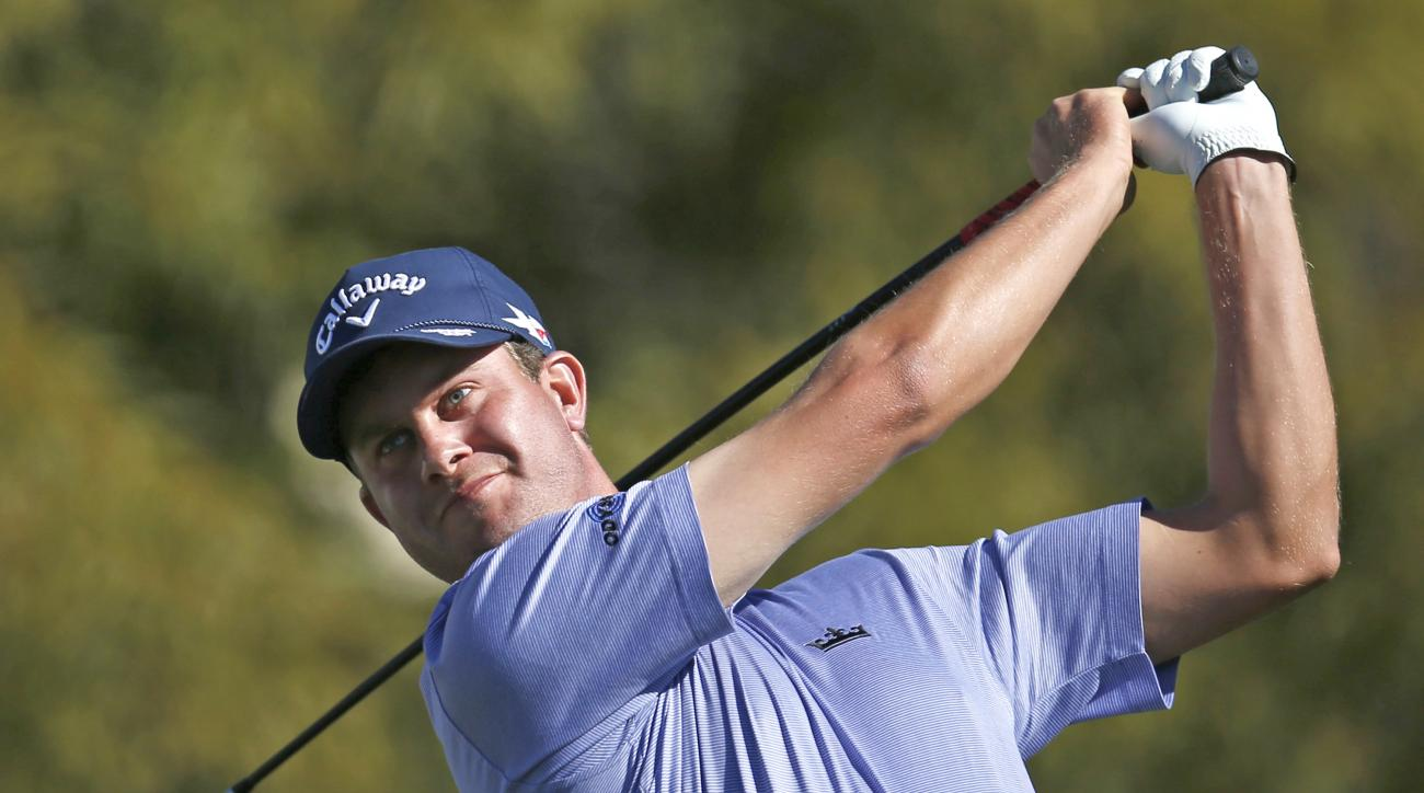 Harris English tees off on the fifth hole during the final round of the Phoenix Open golf tournament, Sunday, Feb. 7, 2016, in Scottsdale, Ariz. (AP Photo/Rick Scuteri)
