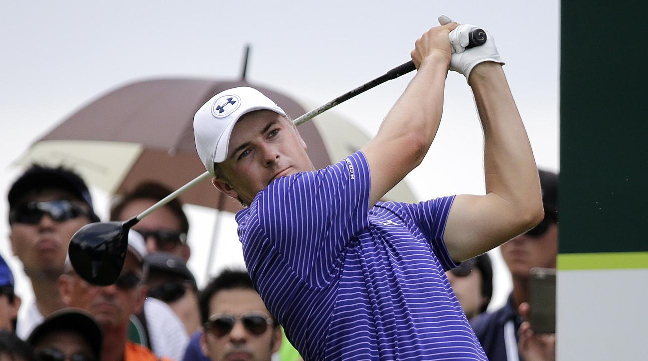 FILE - In this Saturday, Jan. 30, 2016, file photo, Jordan Spieth, of the United States, tees off on the third hole during the third round of the SMBC Singapore Open golf tournament at Sentosa Golf Club's Serapong Course in Singapore. Fame among fans is o