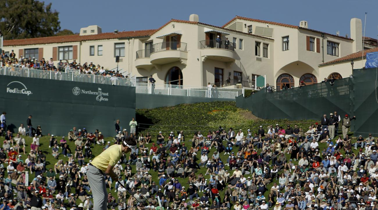 FILE - In this Feb. 18, 2012, file photo, Keegan Bradley putts from the edge of the 18th green during the third round of the Northern Trust Open golf tournament at Riviera Country Club in Los Angeles. The Northern Trust Open is this week at Riviera Countr