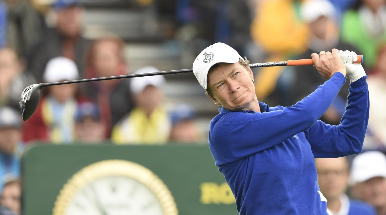 Europe's Catriona Matthew tees off in the singles matches on Day3 of the Golf Solheim Cup in St.Leon-Rot, Germany, Sunday, Sept. 20, 2015.(AP Photo/Jens Meyer)