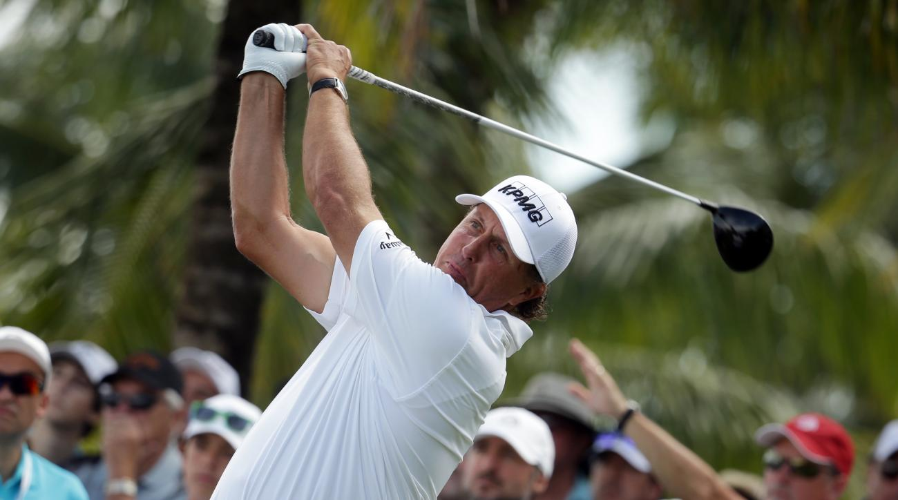 Phil Mickelson hits from the second tee during the second round of the Cadillac Championship golf tournament, Friday, March 4, 2016, in Doral, Fla. (AP Photo/Lynne Sladky)