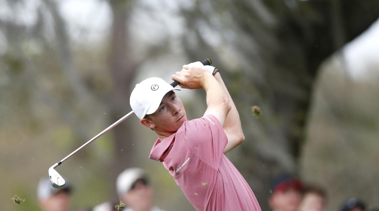 Lee McCoy takes his tee shot on the second hole during the final round of the Valspar Championship golf tournament Sunday, March 13, 2016, in Palm Harbor, Fla. (AP Photo/Brian Blanco)