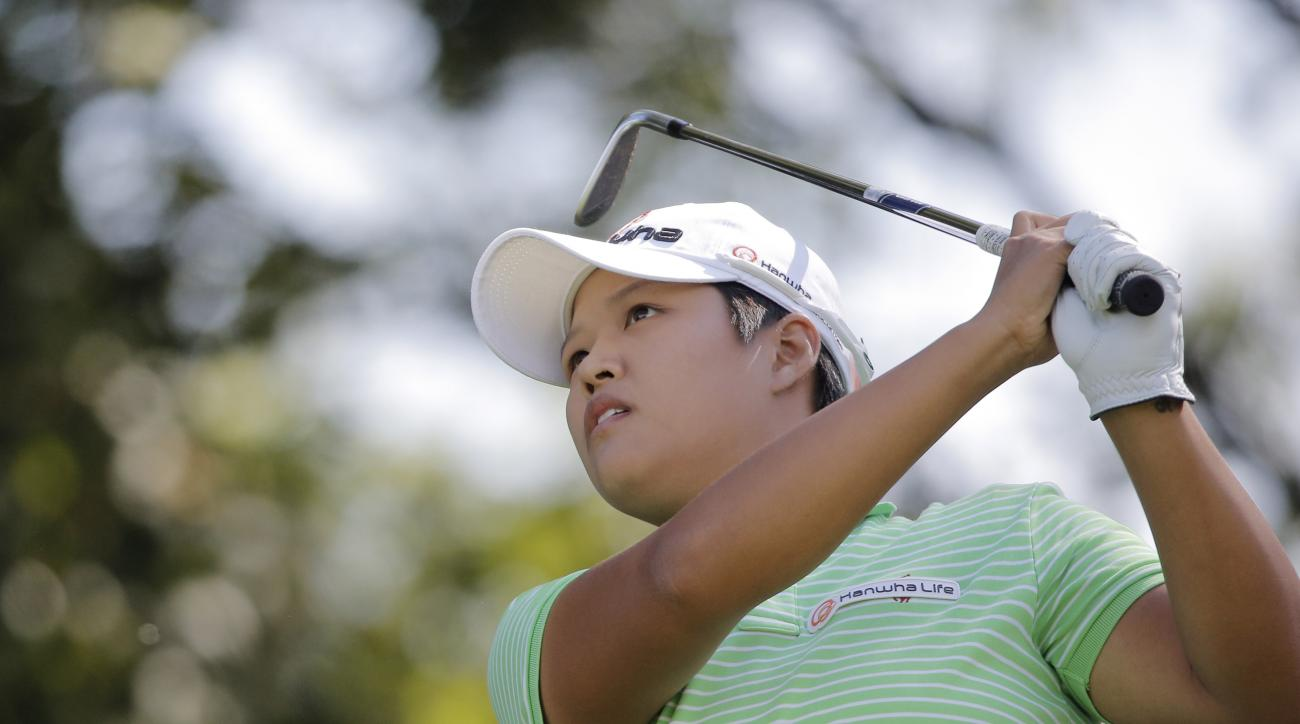 Sei Young Kim, of South Korea, plays on the third hole during the third round of the Evian Championship women's golf tournament in Evian, eastern France, Saturday, Sept. 12, 2015. (AP Photo/Laurent Cipriani)