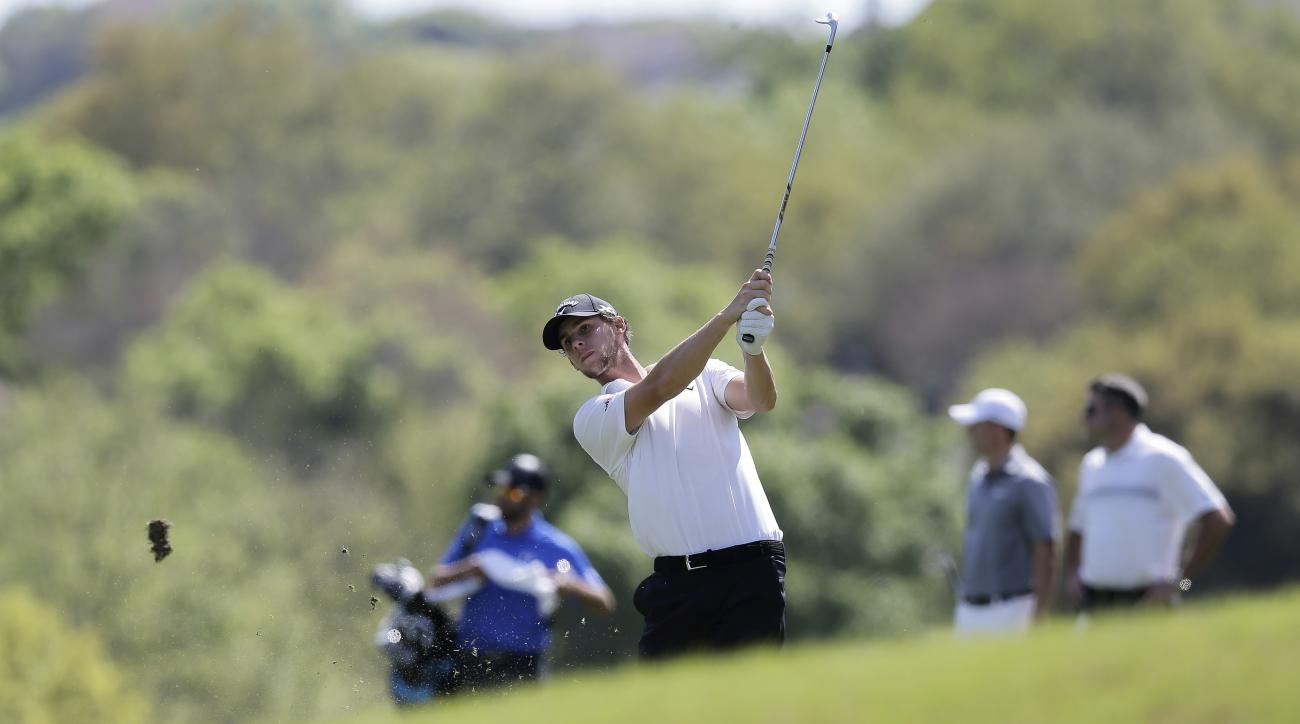 Thomas Pieters, of Belgium, hits from the fairway on the 5th hole during practice for the Dell Match Play Championship golf tournament at Austin County Club, Tuesday, March 22, 2016, in Austin, Texas. (AP Photo/Eric Gay)