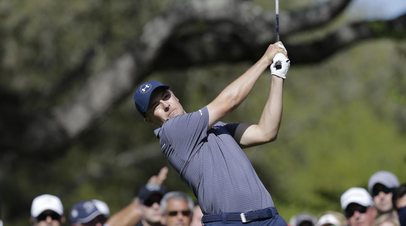 Jordan Spieth hits his tee shot on the eighth hole during round-robin play against Jamie Donaldson at the Dell Match Play Championship golf tournament at Austin County Club, Friday, March 25, 2016, in Austin, Texas. (AP Photo/Eric Gay)