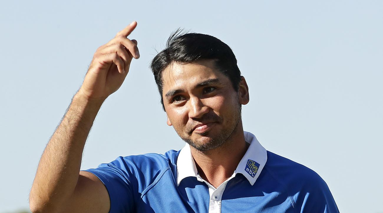 Jason Day, of Australia, celebrates after winning the Dell Match Play Championship golf tournament by beating Louis Oosthuizen, of South Africa, at Austin Country Club, Sunday, March 27, 2016, in Austin, Texas. (AP Photo/Charlie Riedel)