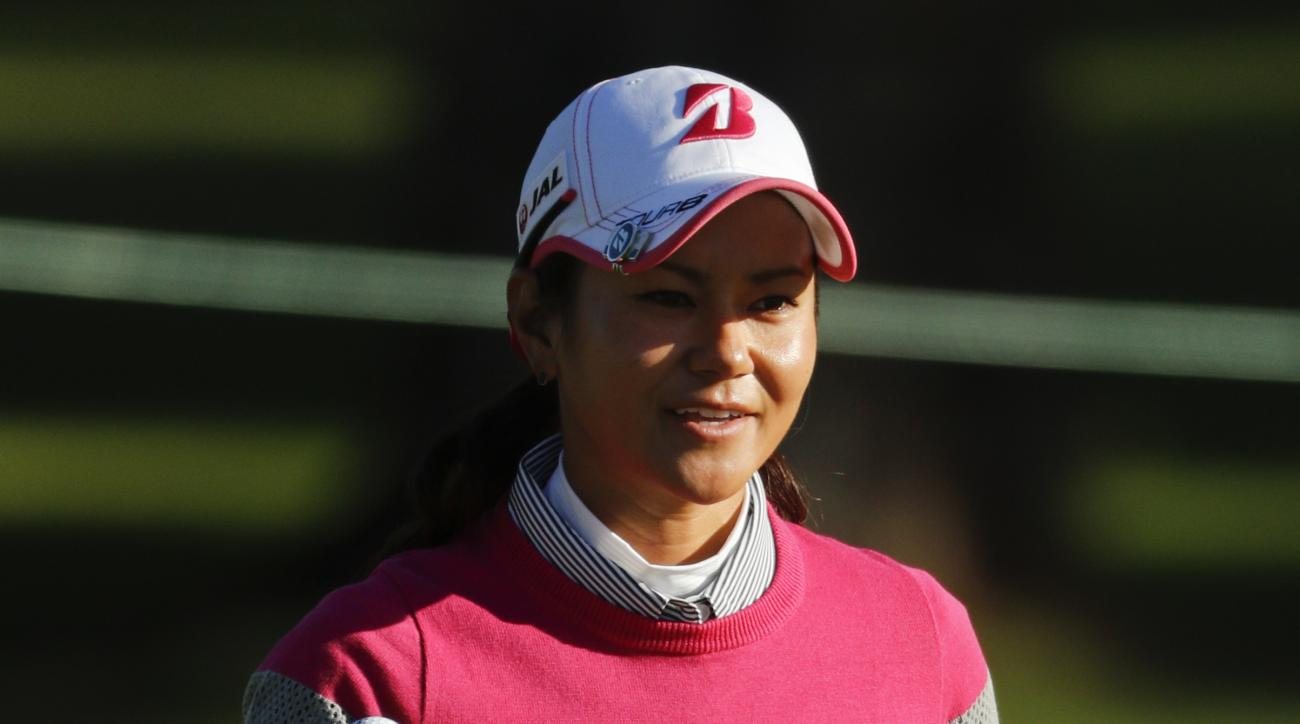 Ai Miyazato, of Japan, waves after a birdie on the first hole during the first round of the LPGA Tour ANA Inspiration golf tournament at Mission Hills Country Club, Thursday, March 31, 2016 in Rancho Mirage, Calif. (AP Photo/Chris Carlson)