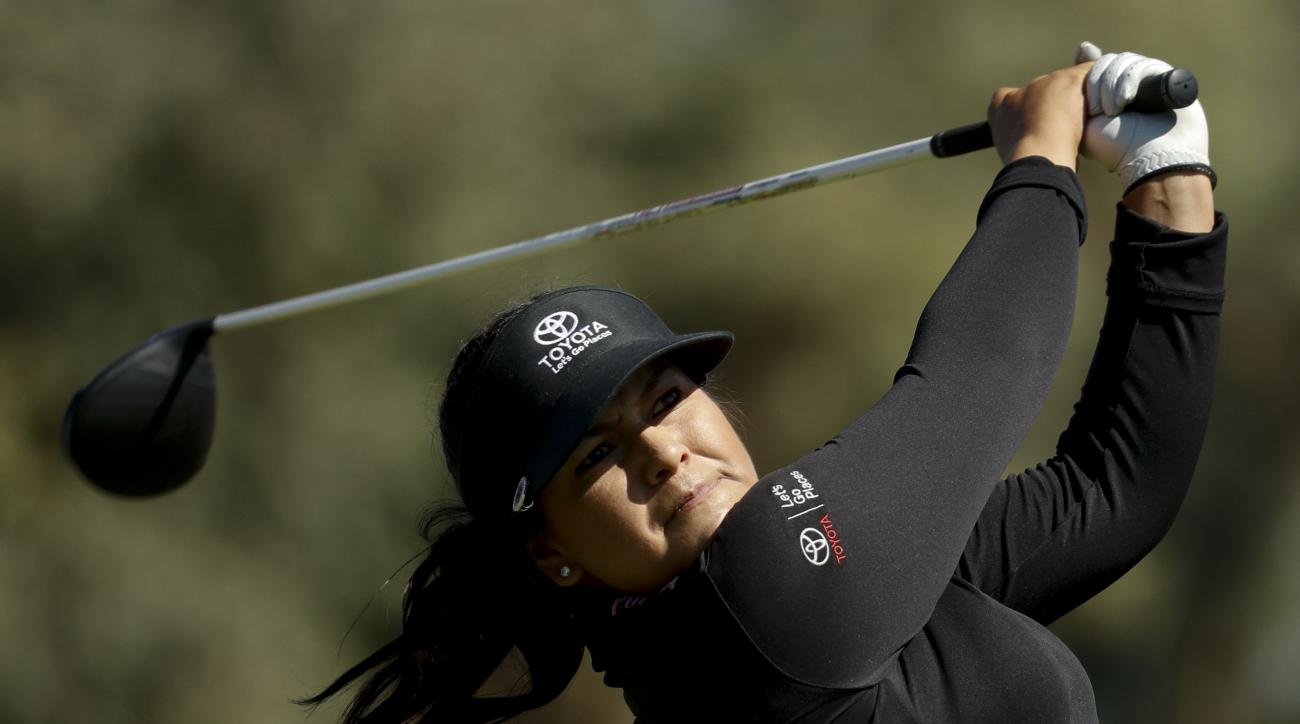 Lizette Salas watches her tee shot on the second hole during the second round of the LPGA Tour ANA Inspiration golf tournament at Mission Hills Country Club, Friday, April 1, 2016 in Rancho Mirage, Calif. (AP Photo/Chris Carlson)