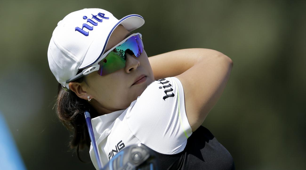 In Gee Chun, of South Korea, watches her tee shot on the second hole during the final round of the LPGA Tour ANA Inspiration golf tournament at Mission Hills Country Club, Sunday, April 3, 2016, in Rancho Mirage, Calif. (AP Photo/Gregory Bull)