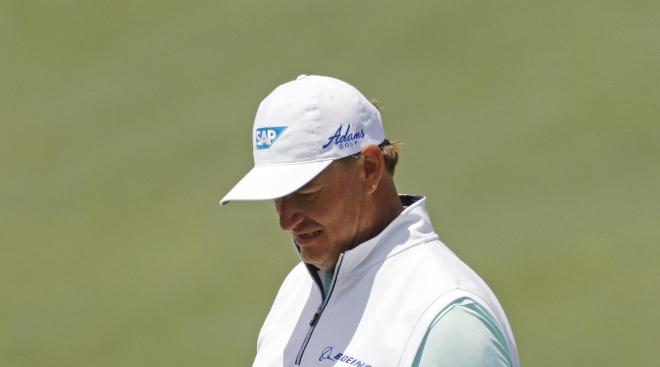 Ernie Els, of France, walks off the second green during the first round of the Masters golf tournament Thursday, April 7, 2016, in Augusta, Ga. (AP Photo/Chris Carlson)