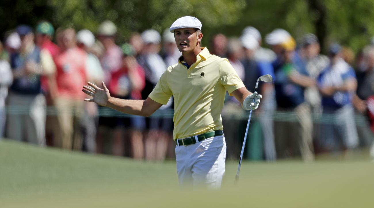 Amateur Bryson DeChambeau reacts to his chip to the eighth green during the second round of the Masters golf tournament Friday, April 8, 2016, in Augusta, Ga. (AP Photo/Matt Slocum)