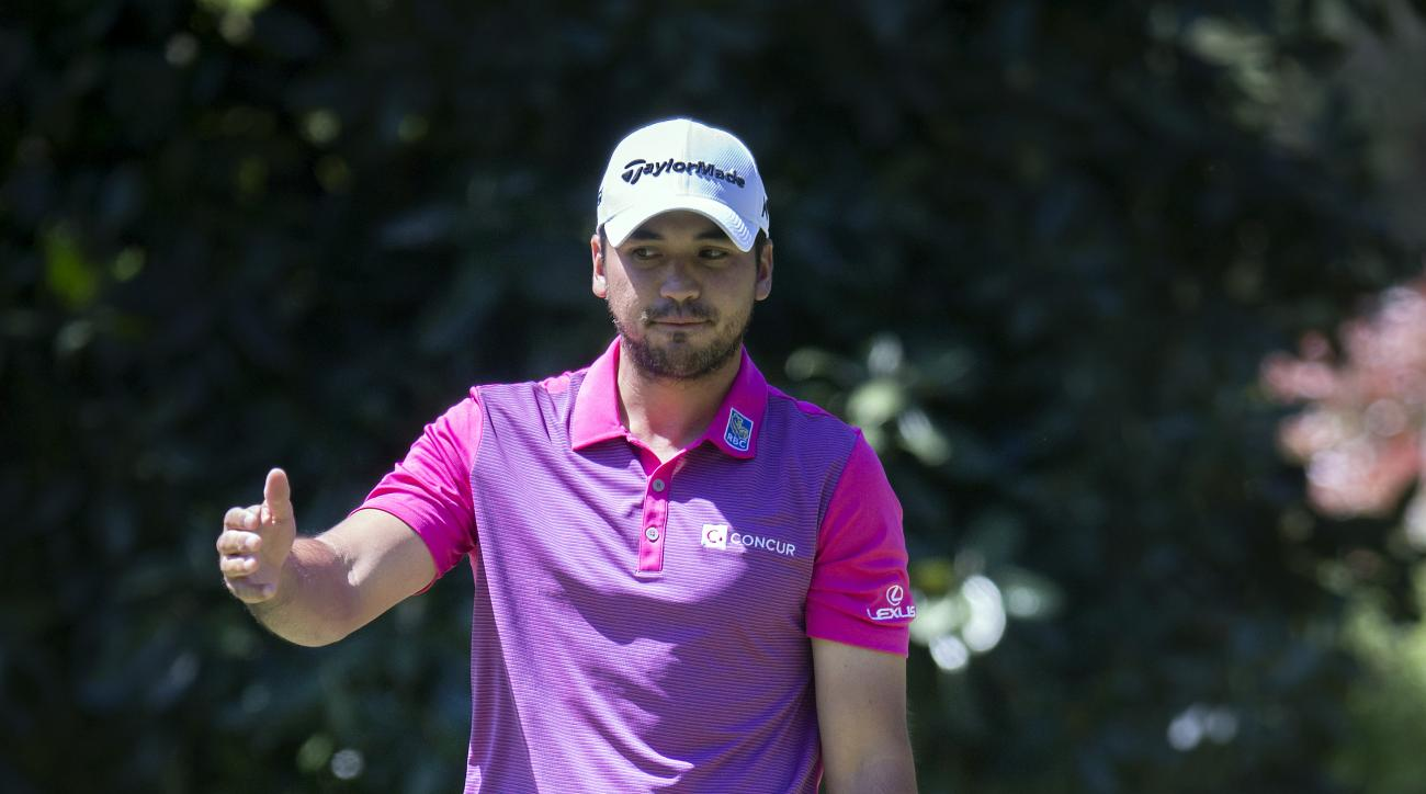 Jason Day, of Australia, reacts to a missed birdie putt on the eighth green during the final round of the RBC Heritage golf tournament in Hilton Head Island, S.C., Sunday, April 17, 2016. (AP Photo/Stephen B. Morton)