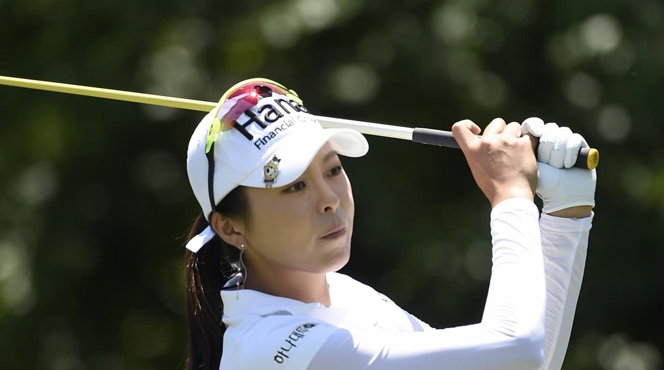 Mi Jung Hur of South Korea watches her hit from the thirteenth tee during the final round of the KPMG Women's PGA golf championship at Westchester Country Club on Sunday, June 14, 2015, in Harrison, N.Y. (AP Photo/Kathy Kmonicek)