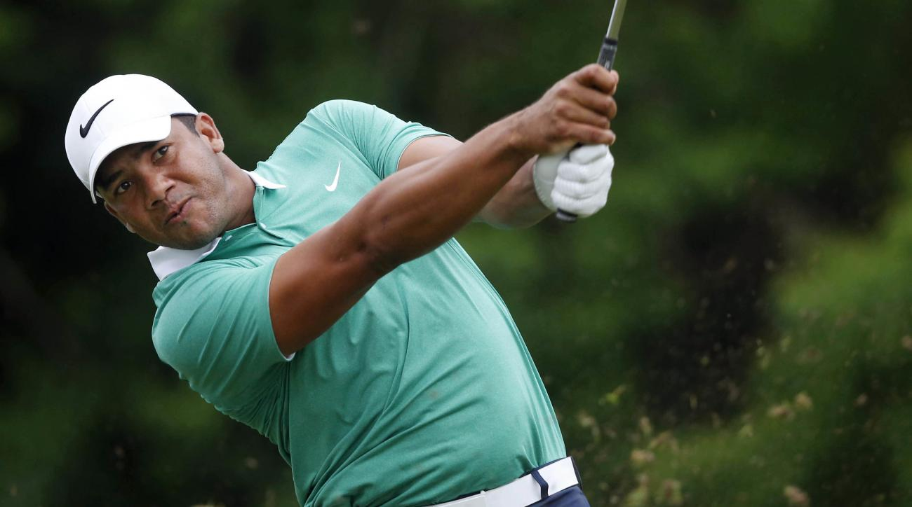 Jhonattan Vegas of Venezuela tees from the third hole during the third round of the PGA Zurich Classic golf tournament at TPC Louisiana in Avondale, La., Sunday, May 1, 2016. (AP Photo/Gerald Herbert)