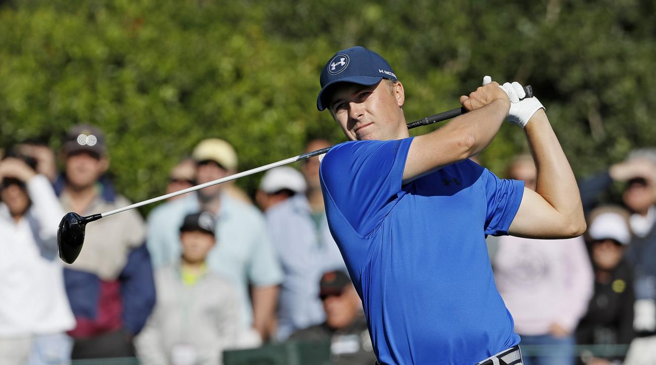 FILE - In this Friday, April 8, 2016 file photo, Jordan Spieth tees off on the 15th hole during the second round of the Masters golf tournament in Augusta, Ga. Jordan Spieth understands his meltdown at the end of the Masters will follow him. And three wee