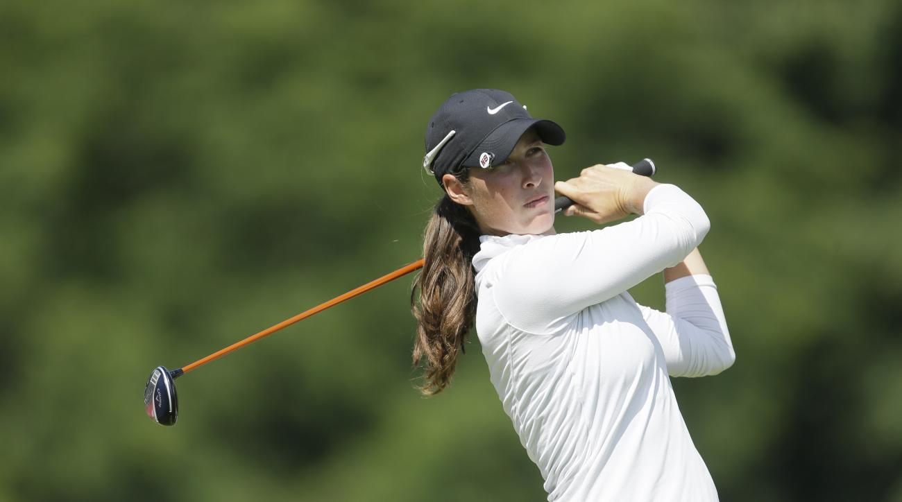 Laettia Beck of Israel drives on the 15th hole during the final round of the Meijer LPGA Classic golf tournament at Blythefield Country Club, Sunday, July 26, 2015 in Belmont, Mich. (AP Photo/Carlos Osorio)
