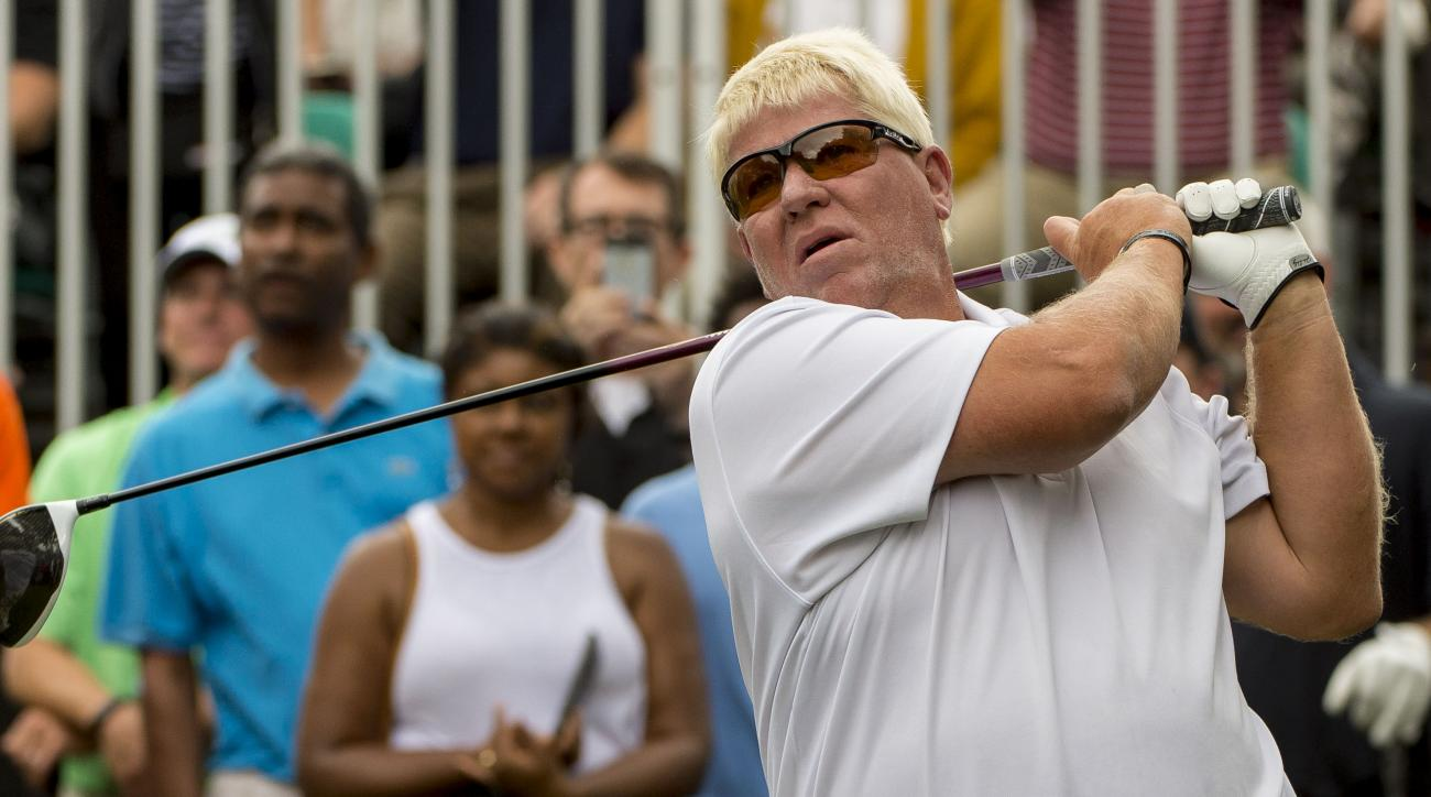 John Daly tees off during the pro-am of the Regions Tradition golf tournament, Wednesday, May 18, 2016, in Hoover, Ala. (Vasha Hunt/AL.com via AP) MAGS OUT; MANDATORY CREDIT