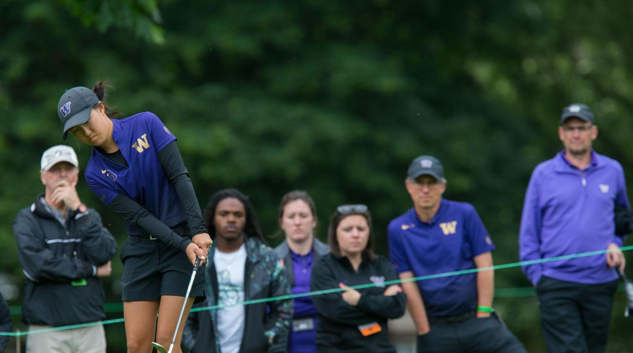 Washington's Sarah Rhee chips from the fringe on the par-3 third hole during the final round of the NCAA Division I women's golf championship, at Eugene Country Club in Eugene, Ore., Wednesday, May 25, 2016. (Brian Davies/The Register-Guard via AP)