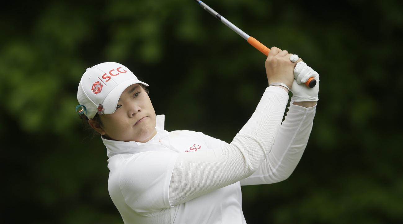 Ariya Jutanugarn of Thailand watches her drive from the fifth tee during the second round of the LPGA Volvik Championship golf tournament at the Travis Pointe Country Club, Friday, May 27, 2016, in Ann Arbor, Mich. (AP Photo/Carlos Osorio)