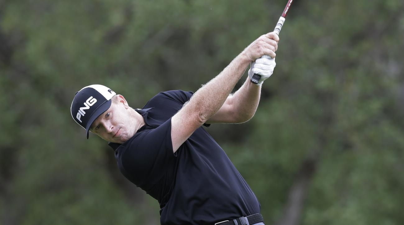 Martin Piller hits his drive on the first hole during the final round of the Texas Open golf tournament, Sunday, April 24, 2016, in San Antonio. (AP Photo/Eric Gay)
