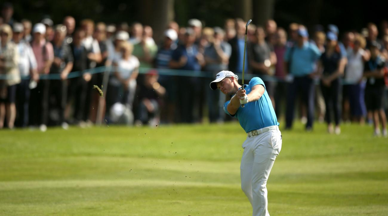 England's Masters champion Danny Willett in action on the sixteenth hole during day three of the PGA Championship at Wentworth Club, Virginia Water, England, Saturday May 28, 2016. Willett made six birdies in a tournament-record 29 on the front nine on Fr
