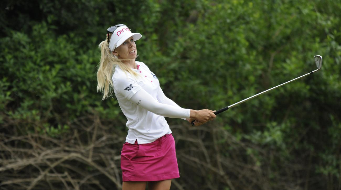 Pernilla Lindberg, of Sweden, hits from the third tee during the final round of the LPGA Volvik Championship golf tournament at the Travis Pointe Country Club, Sunday, May 29, 2016, in Ann Arbor, Mich. (AP Photo/Jose Juarez)