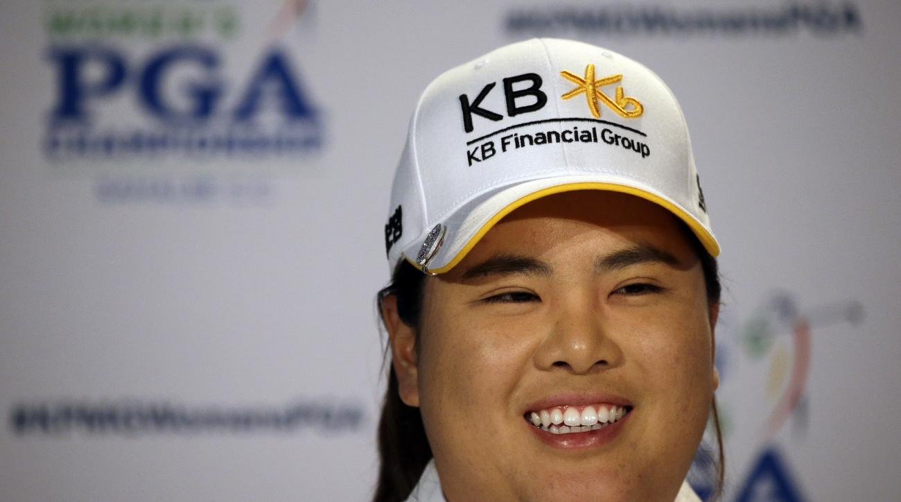 Inbee Park, of South Korea, begins to address a news conference after finishing the first round at the Women's PGA Championship golf tournament at Sahalee Country Club Thursday, June 9, 2016, in Sammamish, Wash. With the completed round, Park becomes elig
