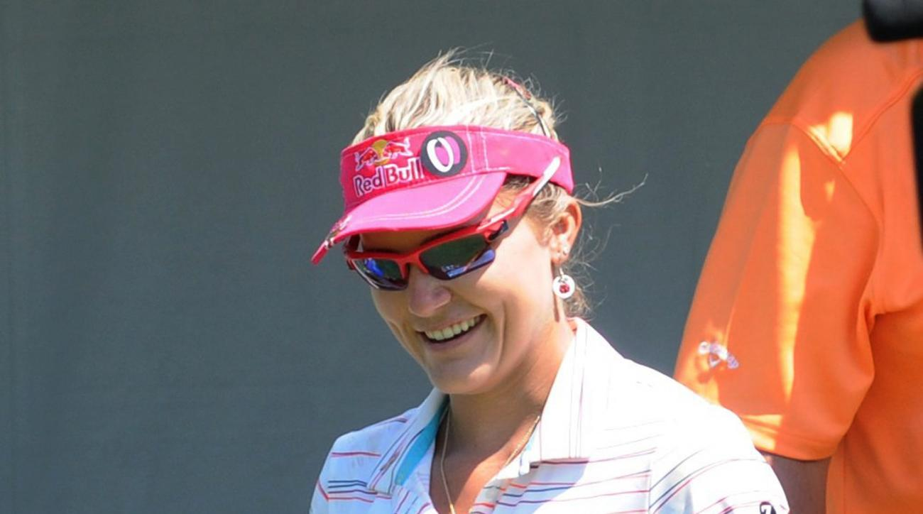 Lexi Thompson smiles during the second round of at the Meijer LPGA Classic golf tournament Friday, June 17, 2016, in Belmont, Mich. (Cory Olsen/The Grand Rapids Press-MLive.com via AP)