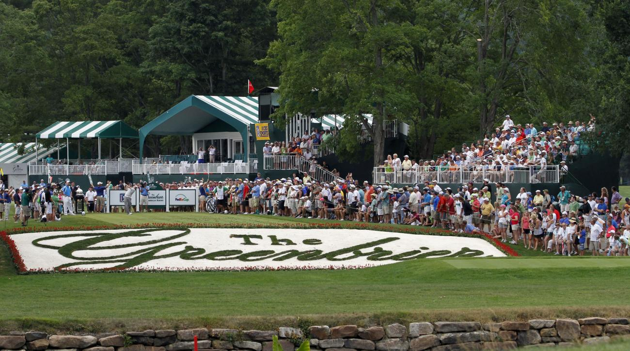 Ted Potter Jr. hits his tee shot on the final playoff hole during the Greenbrier Classic PGA Golf tournament at the Greenbrier in White Sulphur Springs, W.Va., Sunday, July 8, 2012. Potter won in a playoff with Troy Kelly. (AP Photo/Steve Helber)